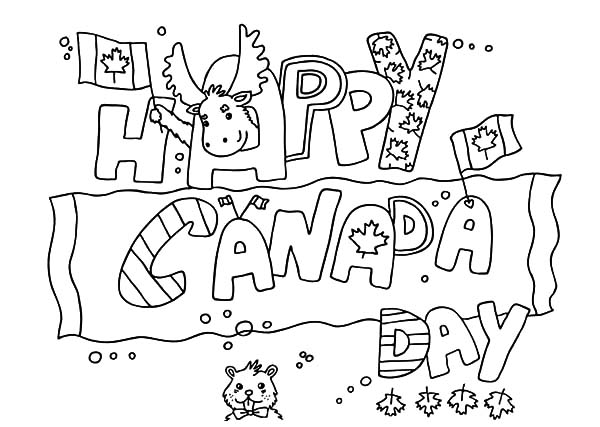 Canada Day, : A Lovely Banner for Canada Day Celebration Coloring Pages
