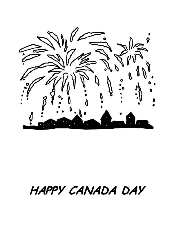 Canada Day, : Beautiful Fireworks on Canada Day Celebration Coloring Pages