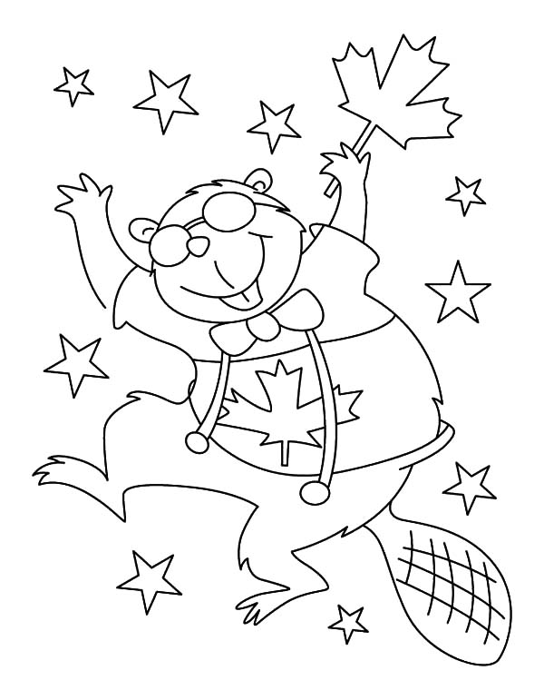 Canada Day, : Cheerful Beaver Dancing on Canada Day Celebration Coloring Pages