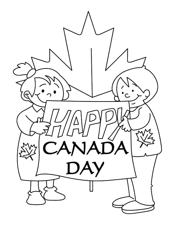 Canada Day, : Couple of Childrens Making Sign for Canada Day Celebration Coloring Pages