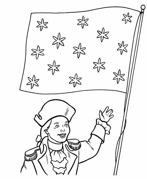Independence Day, : Honoring Flag on Independence Day Celebration Coloring Page