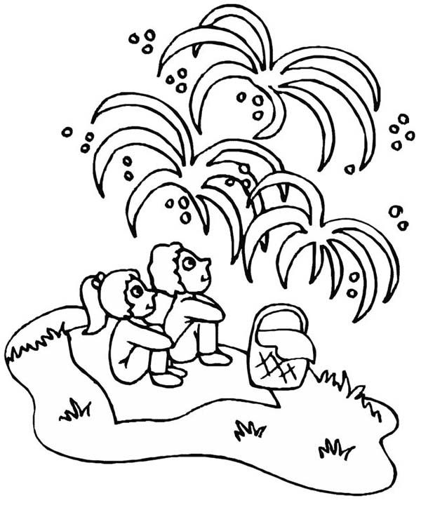 Independence Day, : Kids Watching Fireworks on Independence Day Celebration Coloring Page