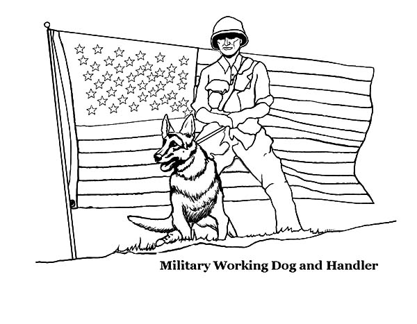 Independence Day, : Military Working Dog and Handler on Independence Day Celebration Coloring Page