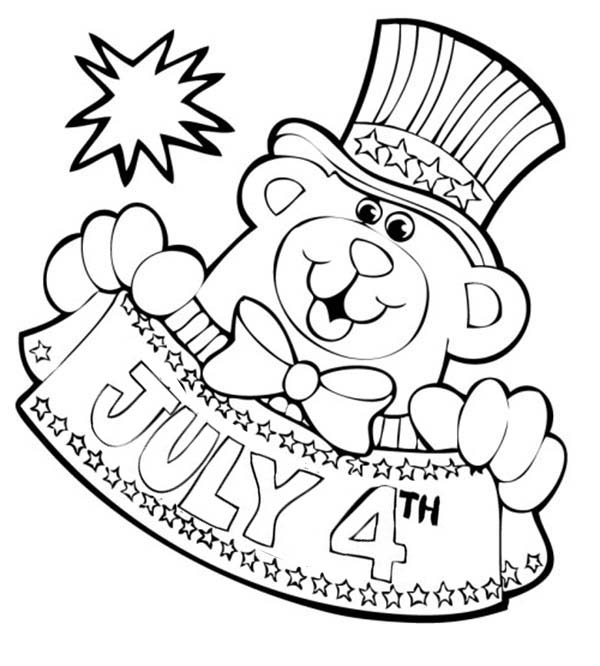 Independence Day, : Mr Bear Mascot for Independence Day Celebration Coloring Page