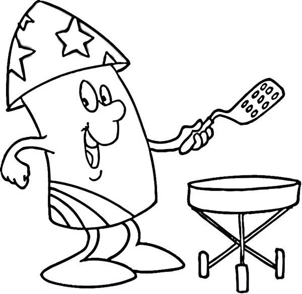 Independence Day, : Mr Firework Cooking for Independence Day Celebration Coloring Page