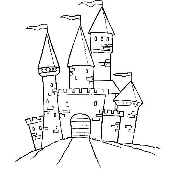 a path leading to a castle and haunted house coloring pages - Halloween House Coloring Pages
