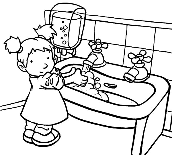 Hand Washing, : A Sink is for Hand Washing Coloring Pages