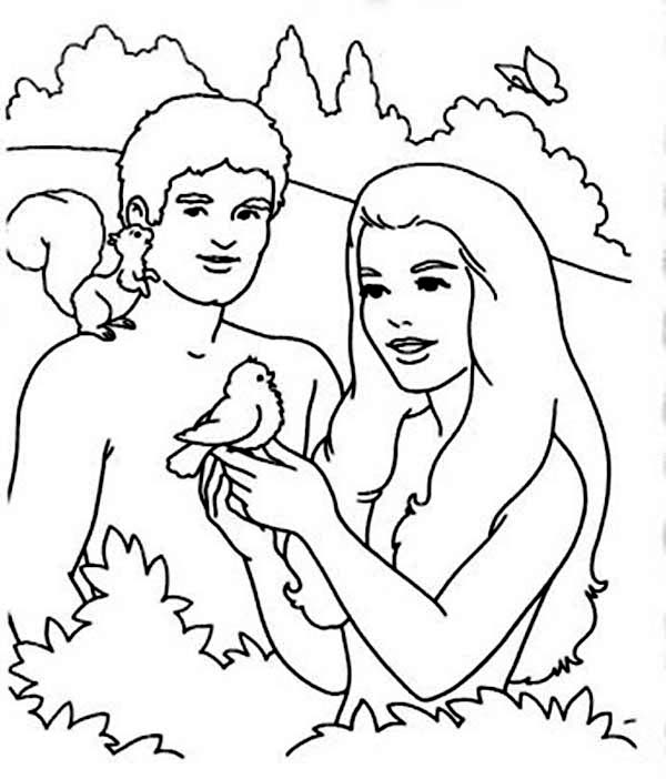 Days Creation, : Adam and Eve in Garden in Days of Creation Coloring Pages
