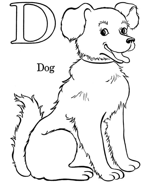 Letter D, : Alphabet Letter D for Dog Coloring Page