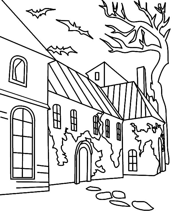 Haunted House, : An Old Haunted House with Chipped Paint Coloring Pages