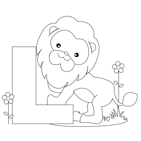 Letter l, : Animal Alphabet Letter L Coloring Page