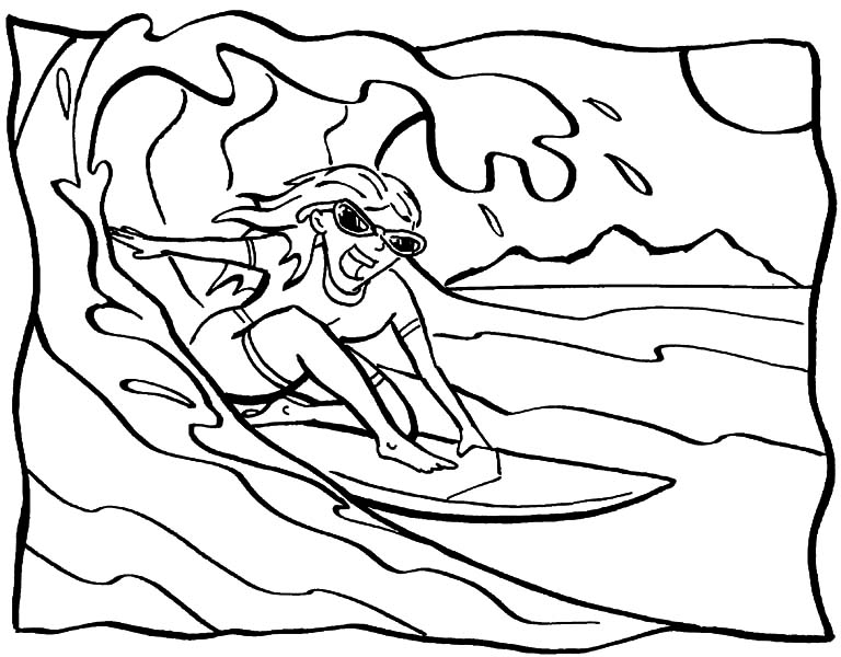 Hawaii, : Awesome Hawaii Sea Wave Coloring Pages