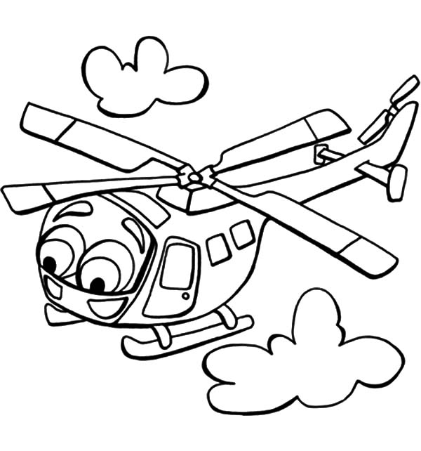 Helicopter, : Big Eyed Helicopter Coloring Pages