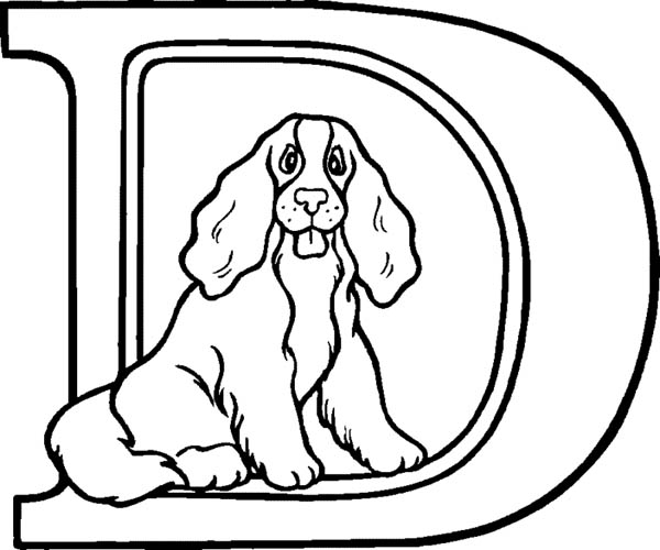 Letter D, : Big Letter D for Dog Coloring Page