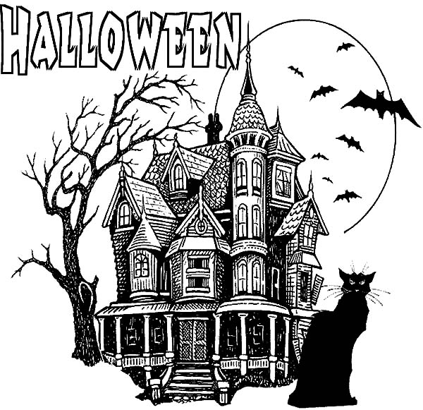 Black Cursed Cat Haunted House Coloring Pages | Coloring Sun