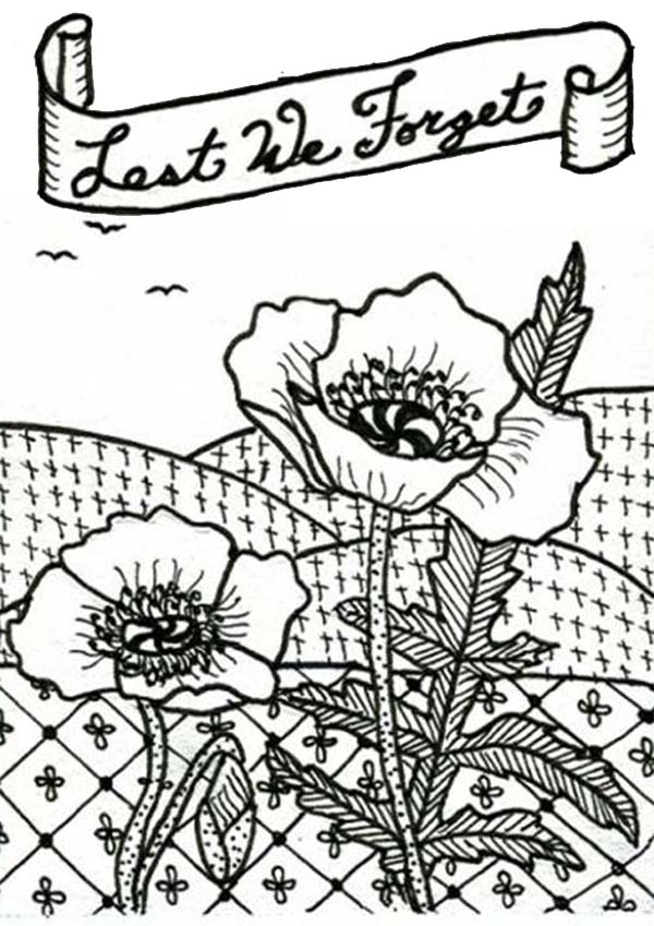 Online Free Coloring Pages For Kids Coloring Sun Part - Poppies to remember coloring page