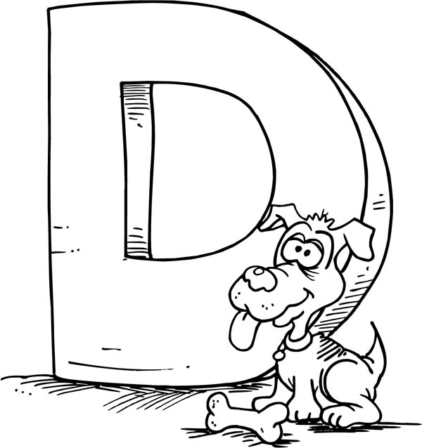 Letter D, : Capital Letter D for Dog Coloring Page