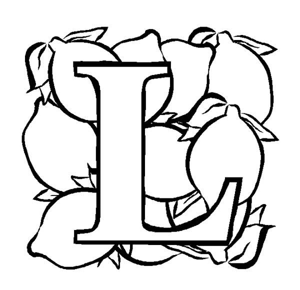 Letter l, : Capital Letter L for Lemon Coloring Page