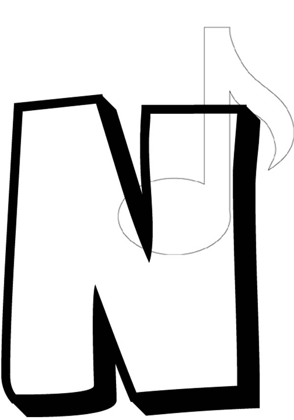 Letter n, : Capital Letter N Coloring Page