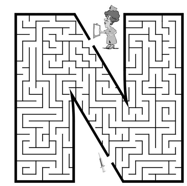 Letter n, : Capital Letter N Maze Coloring Page