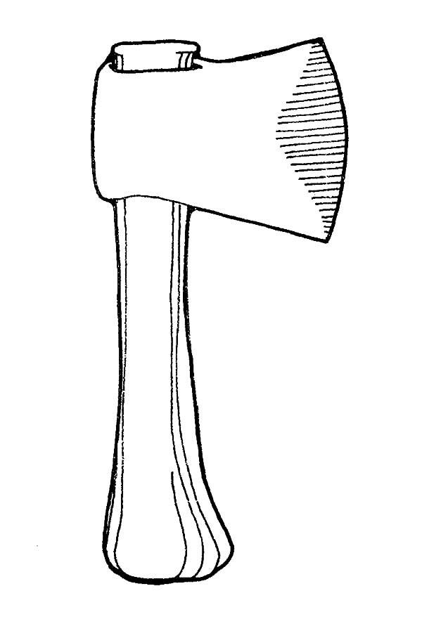 hatchet, : Carpentry Tools Hatchet Coloring Pages