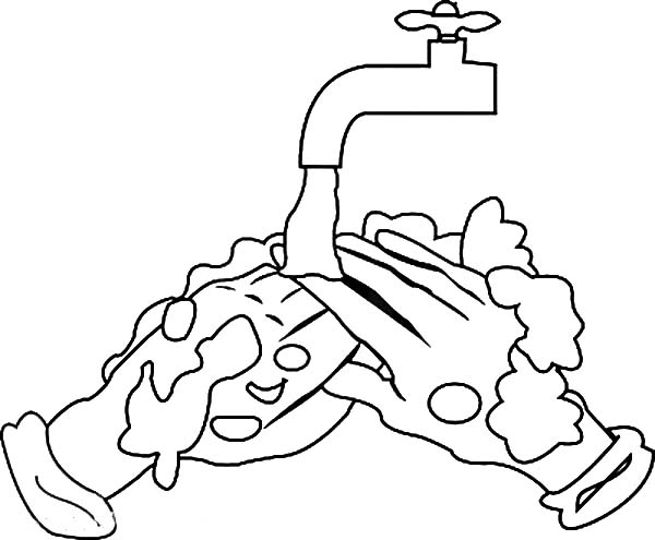 Hand Washing, : Cleaning Remaining Soap Hand Washing Coloring Pages