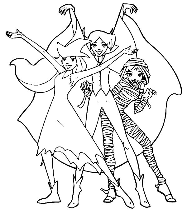 Totall Spies, : Creepy Halloween Totall Spies Coloring Pages