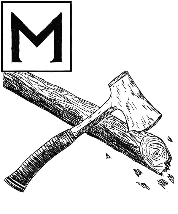 hatchet, : Cutting Log with Hatchet Coloring Pages