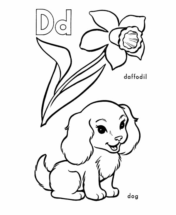 Letter D, : Daffodil and Dog for Letter D Coloring Page
