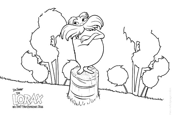 The Lorax, : Dr Seuss the Lorax Standing on Chopped Tree Coloring Pages