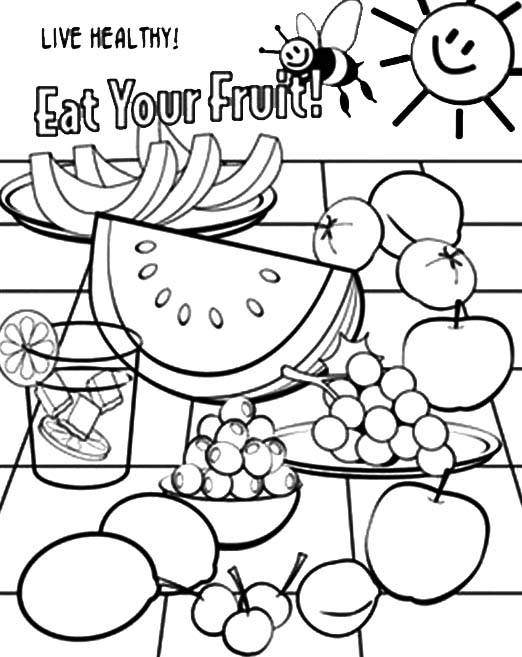 Eat Your Healthy Food Coloring Pages Coloring Sun