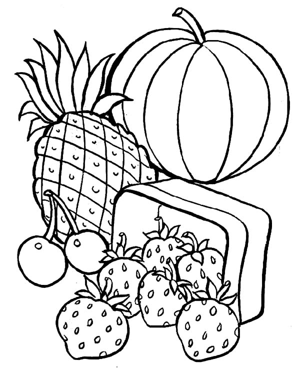 Healthy Eating, : Eating Fruits are Healthy for Your Body Coloring Pages