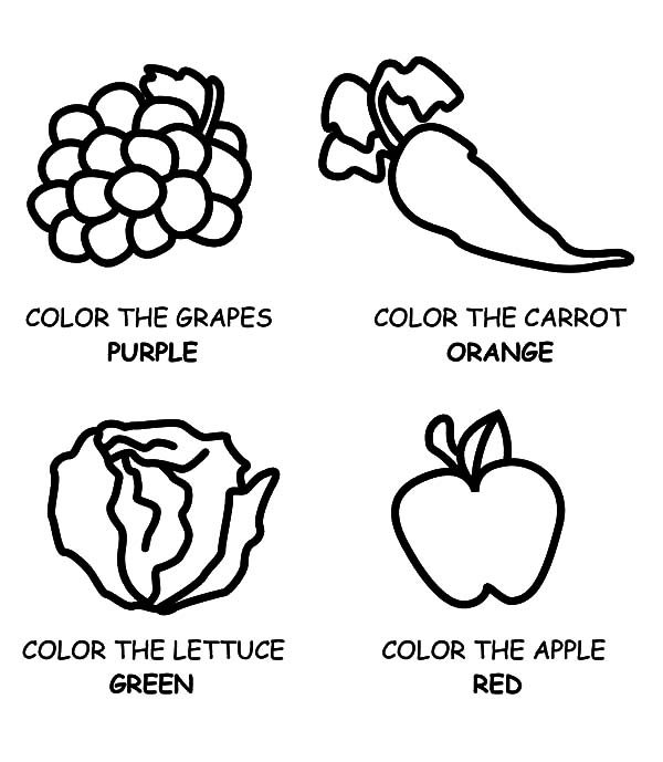 Healthy Eating, : Eating Healthy Food Fruits and Vegetables Coloring Pages