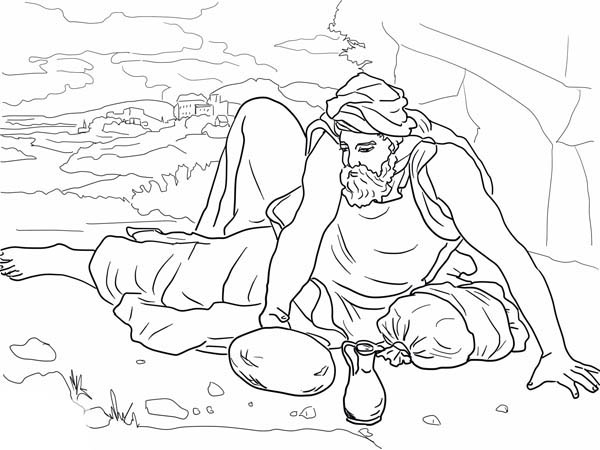 Elijah, : Elijah in the Wilderness Coloring Pages