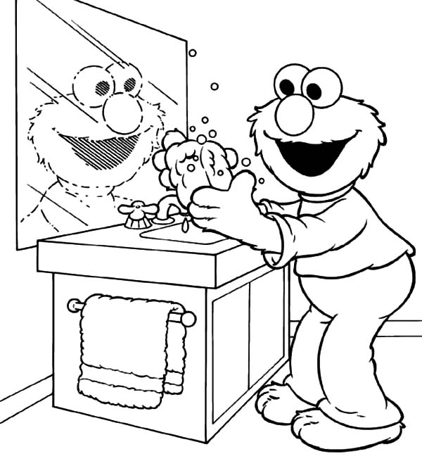 Hand Washing, : Elmo Doing Hand Washing Coloring Pages