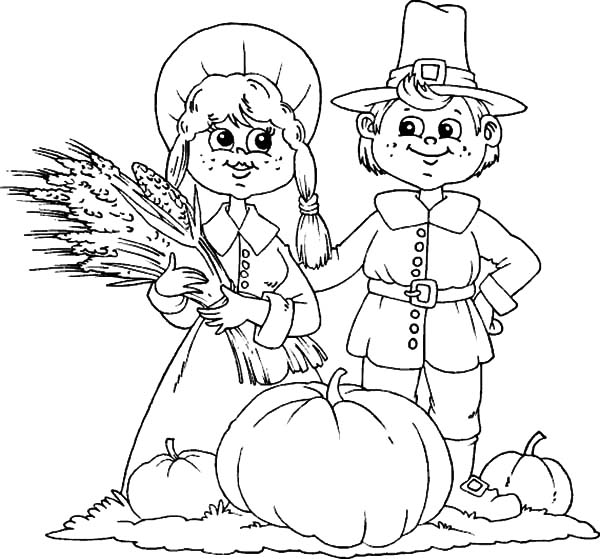 Harvests, : Farmer Couple Harvests Coloring Pages