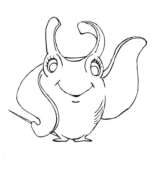 Manta Ray, : Female Manta Ray Waving Hand Coloring Pages