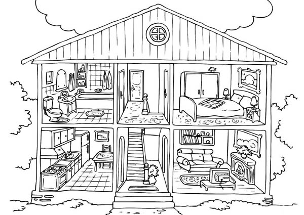 Free-House-Coloring-Pages-For-Kids | Coloring Sun