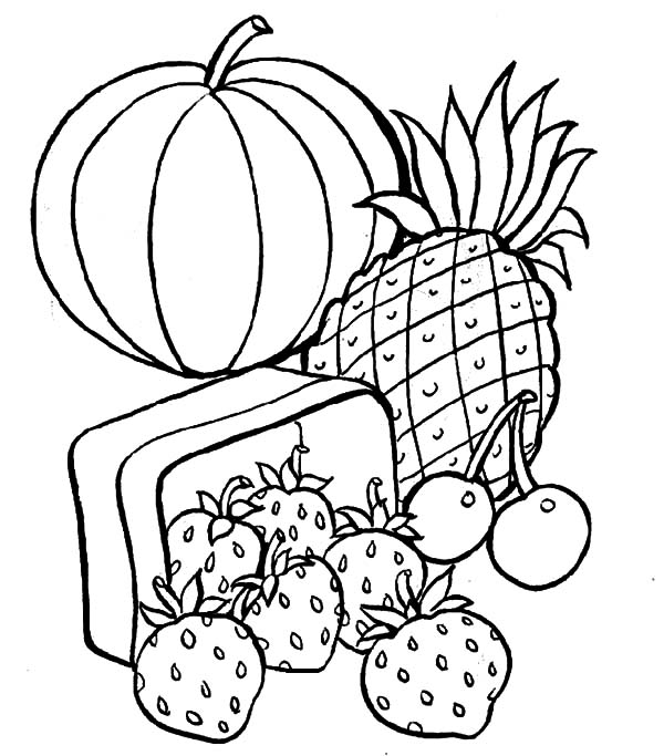 Healthy Eating, : Fruity Healthy Eating Coloring Pages