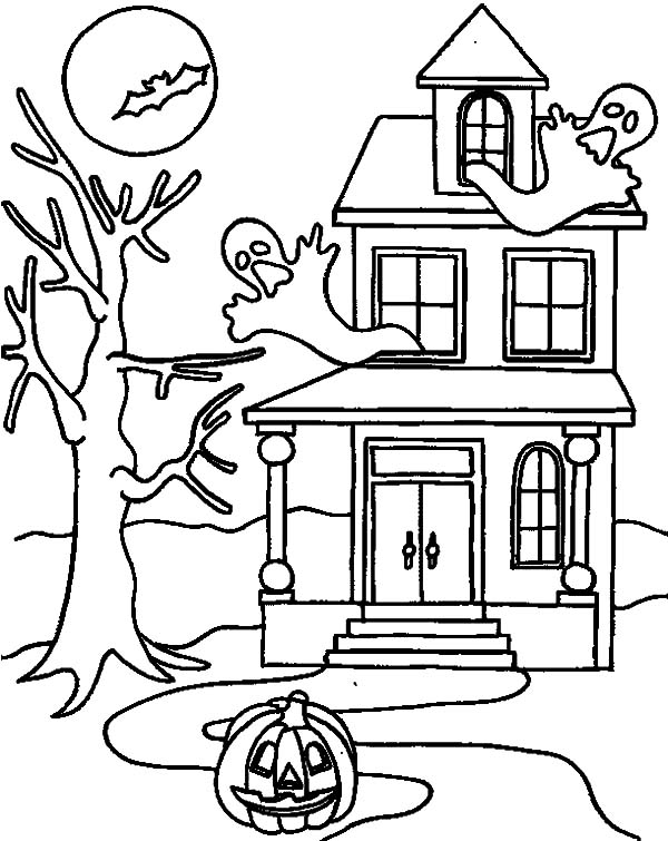 Haunted House, : Ghostly Haunted House Coloring Pages