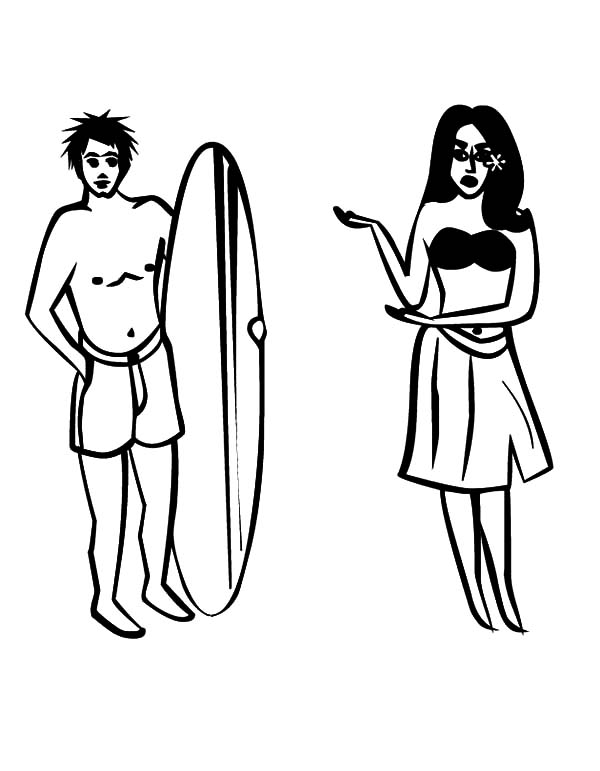 Hawaii, : Girl and Surfer Hawaii Coloring Pages