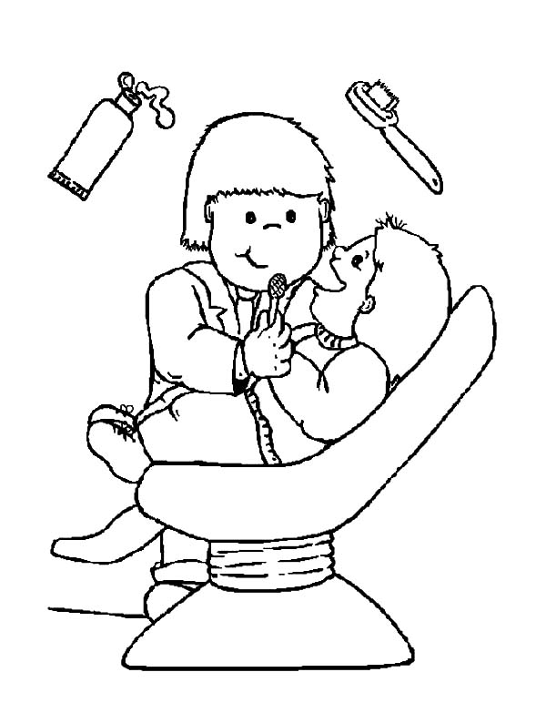 Health, : Going to Dentist to Check Teeth Health Coloring Pages