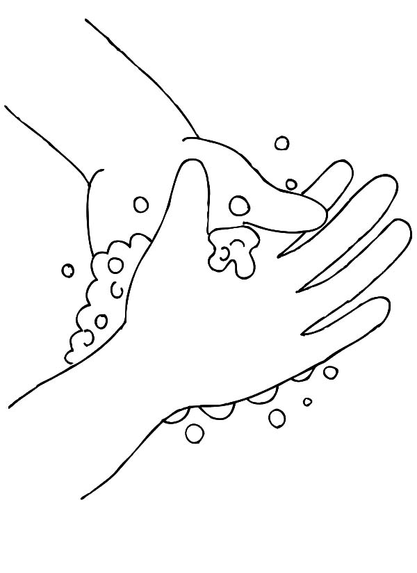 Hand Washing, : Hand Washing Bubbling Soap Coloring Pages