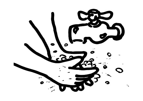 Hand Washing, : Hand Washing Coloring Pages for Kids