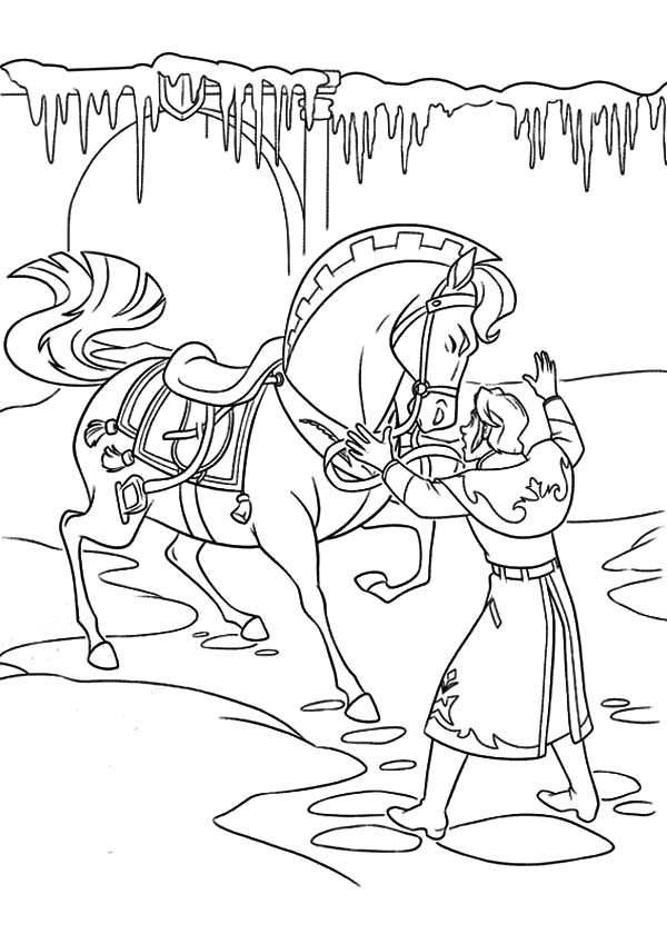 Hans, : Hans is Trying to Settle the Horse Down Coloring Pages
