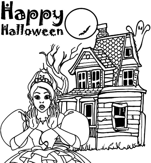 Haunted House, : Happy Halloween Haunted House Coloring Pages