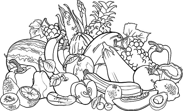Harvests, : Harvests Fruits and Vegetables Coloring Pages