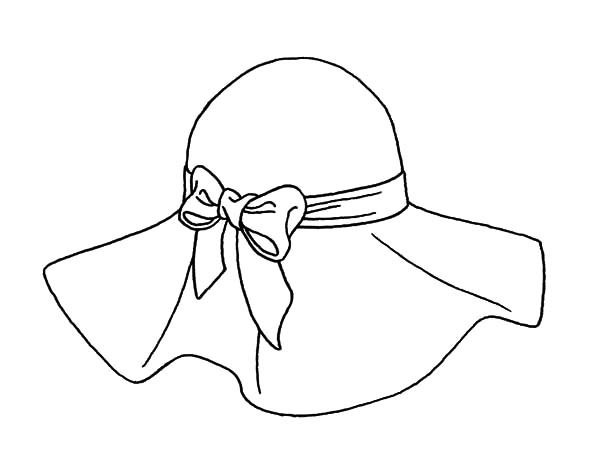Hat, : Hat Tied with Bow Coloring Pages