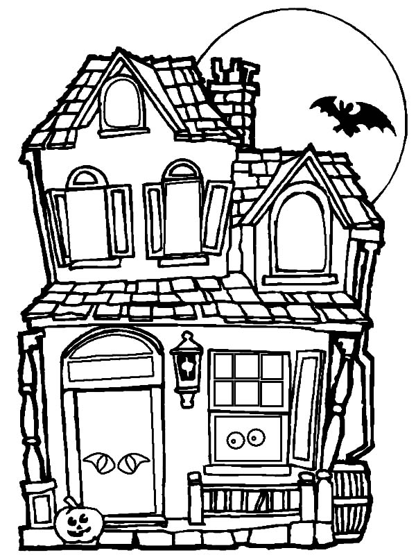 Haunted House, : Haunted House Coloring Pages