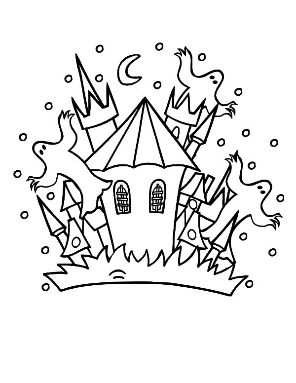 Haunted House, : Haunted House Full of Scary Ghost Coloring Pages